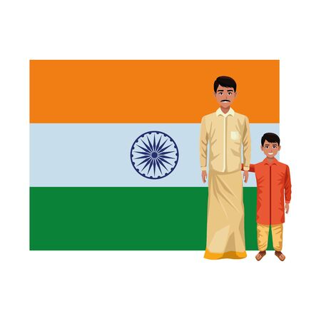 indian family man with moustache with young boy and big indian flag behind profile picture avatar cartoon character portrait vector illustration graphic design