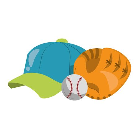 baseball equiment elements ball, catcher golve and hat icon cartoon vector illustration graphic design Banque d'images - 129255591