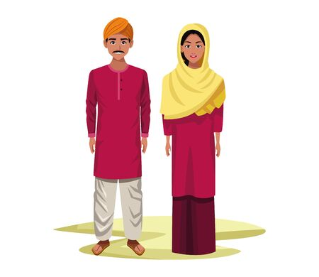 indian couple wearing traditional hindu clothes man with moustache and turban and woman wearing hiyab profile picture avatar cartoon character portrait vector illustration graphic design