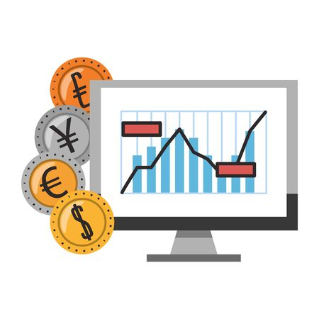 Online stock market investment computer with dollar euro yen coins symbols vector illustration