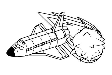 space exploration comet and space shuttle in black and white icon cartoon vector illustration graphic design Çizim