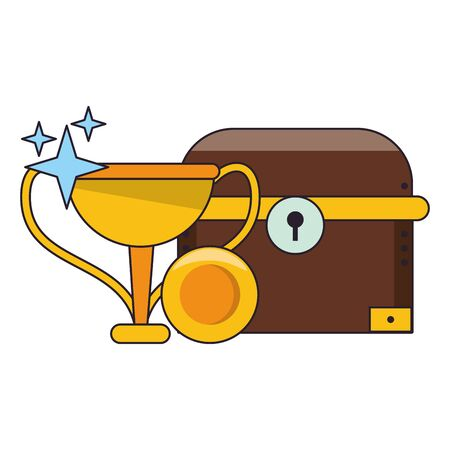 Videogames chest with trophy cup and coin cartoons vector illustration graphic design