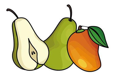 Pears and mango delicious fruits vector illustration graphic design