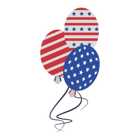 usa american independence 4th july patriotic happy celebration united states balloons isolated cartoon vector illustration graphic design Ilustracja