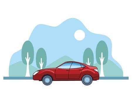 Modern sedan red car vehicle sideview on nature landscape background ,vector illustration graphic design.
