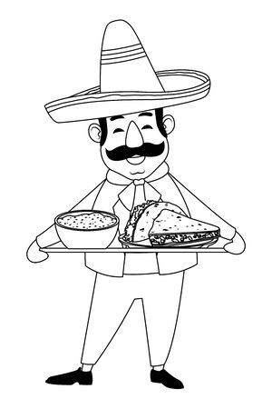 mexican food and tradicional culture with a mariachis man with mexican hat, moustache and maracas closeup avatar cartoon character portrait in black and white vector illustration graphic design 일러스트
