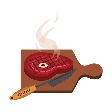 Barbecue food steak and knife in table vector illustration graphic design Иллюстрация