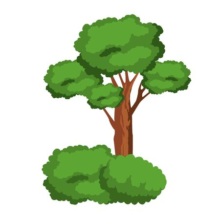 leafy tree and shruberry icon cartoon isolated