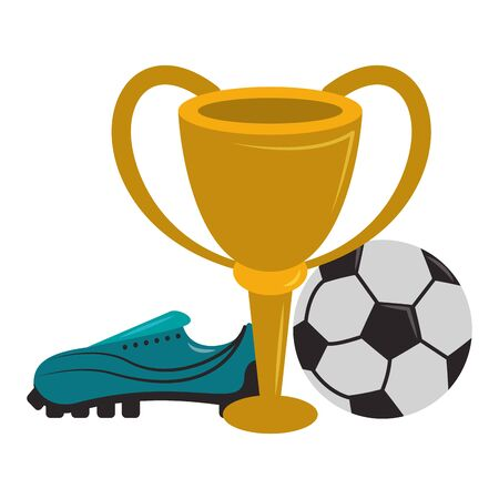 Soccer sport game trophy cup with ball and boot isolated vector illustration graphic design  イラスト・ベクター素材