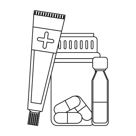 Medical equipment and supplies medicine bottle cream and vial vector illustration graphic design.