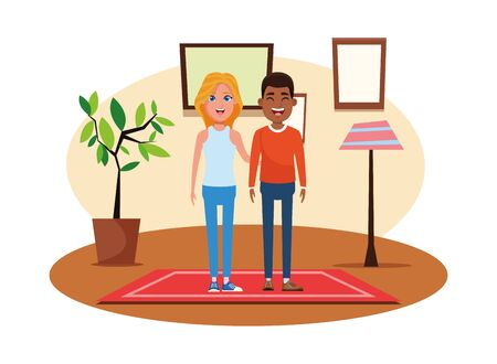 couple avatar afro american man smiling and blonde woman profile picture cartoon character portrait indoor over a carpet with floor lamp, plant pot and frame on the wall vector illustration graphic design