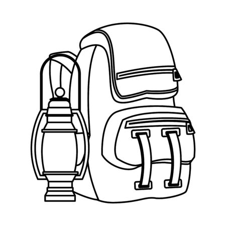 Camping backpack with lantern ,vector illustration graphic design.