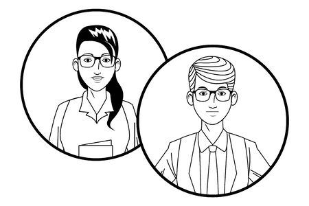two business person couple wearing glasses avatar cartoon character profile picture portrait in round icons black and white vector illustration graphic design