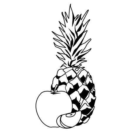 delicious mix of fruit with apple and pineapple icon cartoon in black and white vector illustration graphic design Ilustracja
