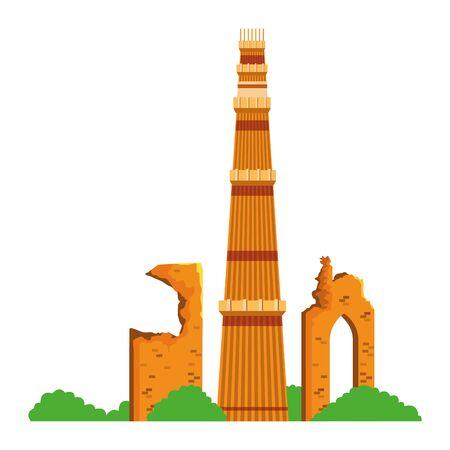 indian building monuments with qutab minar icon cartoon vector illustration graphic design