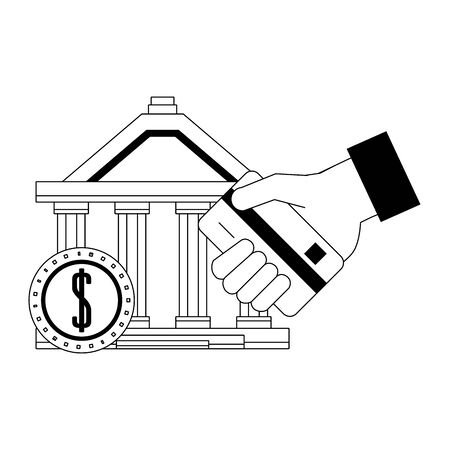 Bank building and hand with credit card and coin in black and white vector illustration Illustration