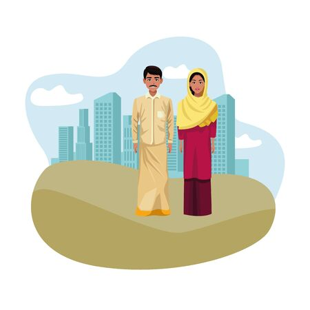 indian couple wearing traditional hindu clothes man with moustache and woman wearing hiyab profile picture avatar