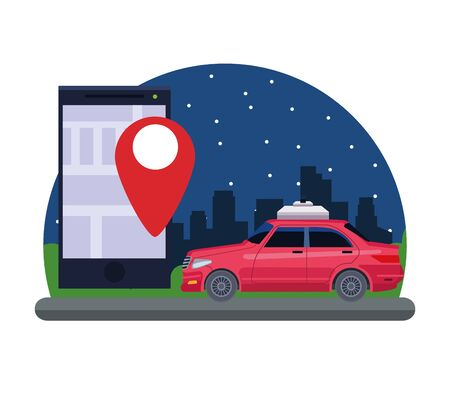gps location car service concept with car and cellphone with location symbol cityscape at night icon cartoon vector illustration graphic design