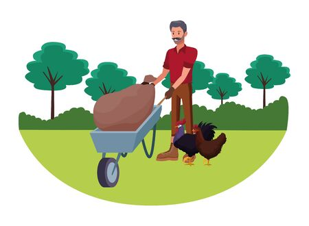 farm, animals and farmer man with moustache pushing a wheelbarrow and sack with rooster and hen avatar cartoon character over the grass with trees and shruberry vector illustration graphic design