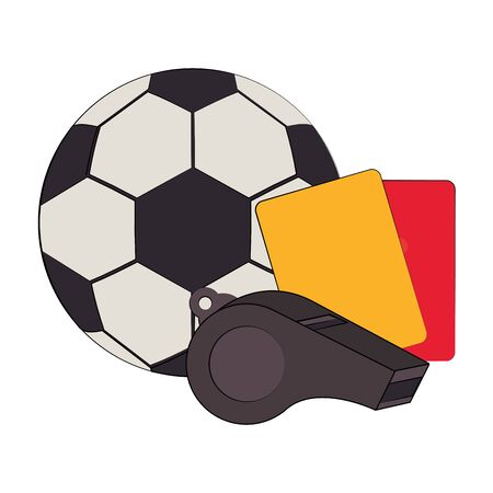 Soccer football sport game ball and referee cards with whistle vector illustration graphic design Ilustracja