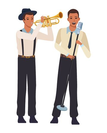 musician playing trumpet and singing avatar cartoon character vector illustration graphic design 向量圖像