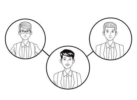 three businessmen wearing suit and glasses and smiling avatar cartoon character profile picture portrait in round icons black and white vector illustration graphic design