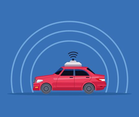 gps location car service concept with wireless sign icon cartoon vector illustration graphic design