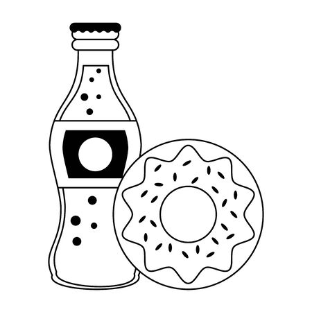Food donut and soda bottle isolated vector illustration graphic design