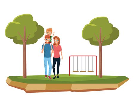 Family young dad and mom with children holding schoool backpack cartoon in the city park with playgrounds vector illustration graphic design