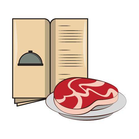 Barbecue food steak in dish and menu vector illustration graphic design