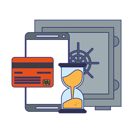 Security strongbox with smartphone and credit card symbols vector illustration graphic design Illustration