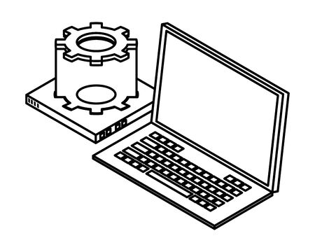 laptop hardware and computing technology isolated symbol and hard disk drive isolated vector illustration graphic design