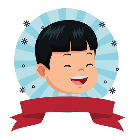 Cute little asian boy smiling face on round striped emblem with blank ribbon banner ,vector illustration graphic design.