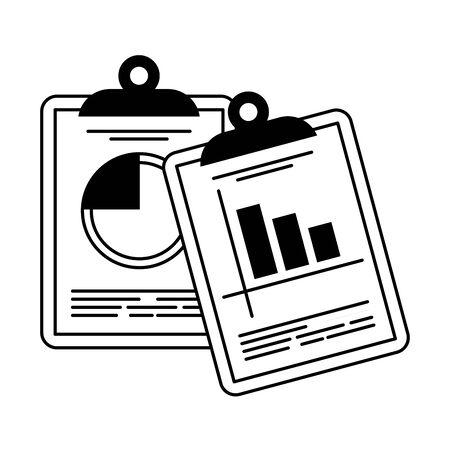 Business profit statistics on clipboards vector illustration graphic design