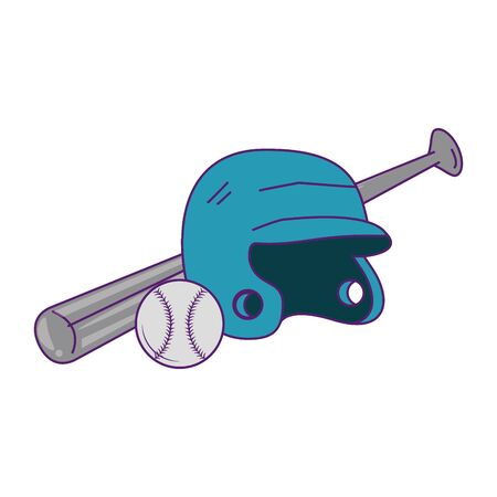 baseball equiment elements ball, batter helmet and aluminum bat icon cartoon vector illustration graphic design