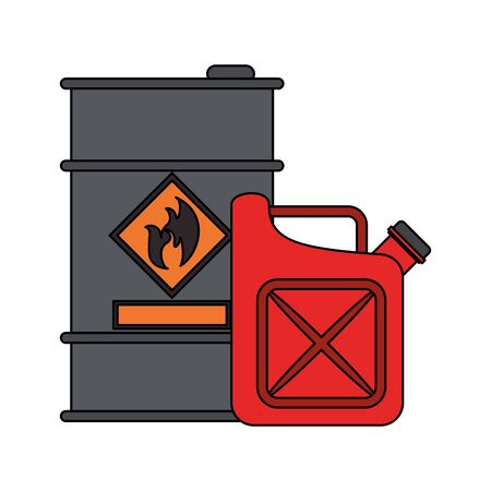 Oil barrel and fuel jerrycan symbols vector illustration graphic design