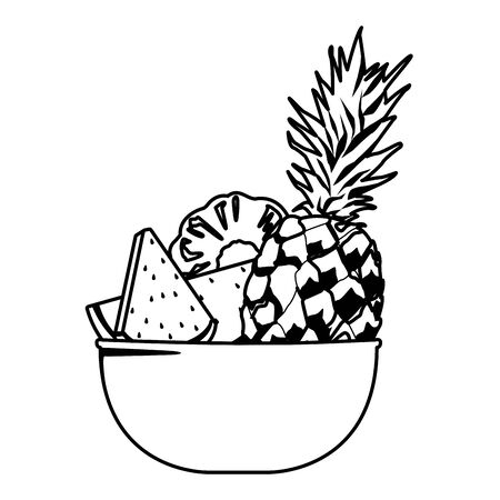 Fresh fruits pineapple and watermelon in bowl cartoon vector illustration graphic design