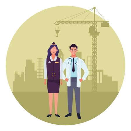 labor day employment occupation national celebration,stewardess with doctor workers in front city construction view cartoon vector illustration graphic design
