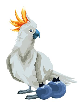 parrot wild cockatoo with bluberries icon cartoon vector illustration graphic design