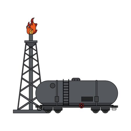 Petroleum oil refinery plant with fuel truck tank vector illustration graphic design