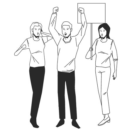 social activity public protest man protester with vector cartoon character black white vector illustrtion graphic design Ilustracja