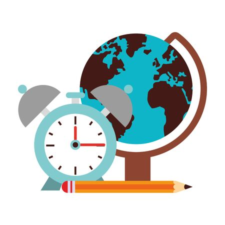 Back to school education world globe and alarm clock with pencil cartoons vector illustration graphic design