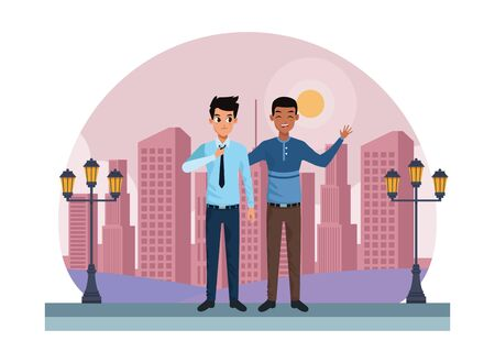 Young male friends smiling and greeting with formal clothes in the city urban scenery background ,vector illustration graphic design. Çizim