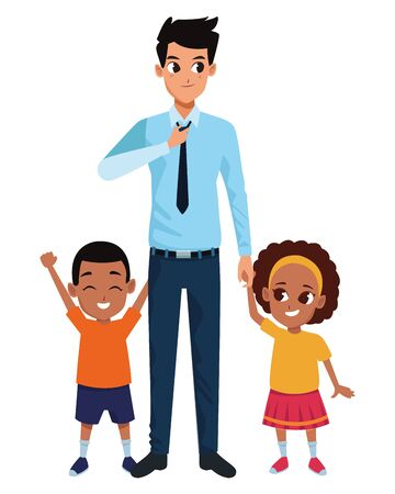 Family single father with afro boy and girl cartoon vector illustration graphic design
