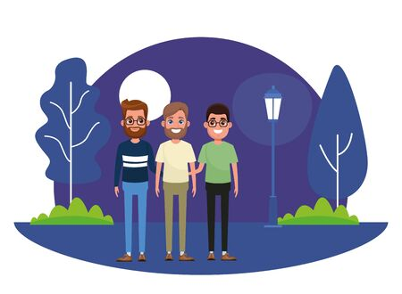 avatar men  wearing glasses, man with beard and man with beard and glasses profile picture cartoon character portrait outdoor in the park with trees and a street lamp at night with moon vector illustration graphic design