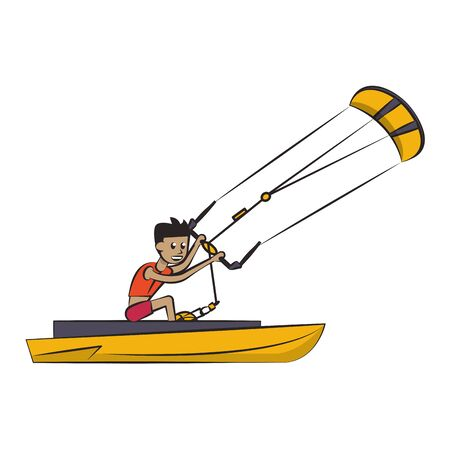 Water sport athelete with kite on boat vector illustration graphic design Foto de archivo - 129257518