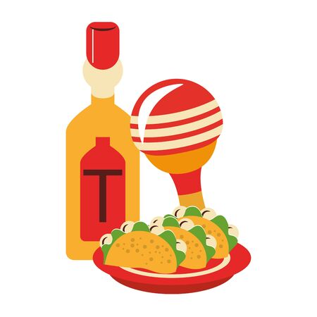 mexico culture and foods cartoons tequila bottle and tacos on plate also the rattle vector graphic design Zdjęcie Seryjne - 129257515