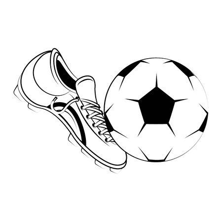 Soccer football sport game boot kicking ball vector illustration graphic design Çizim