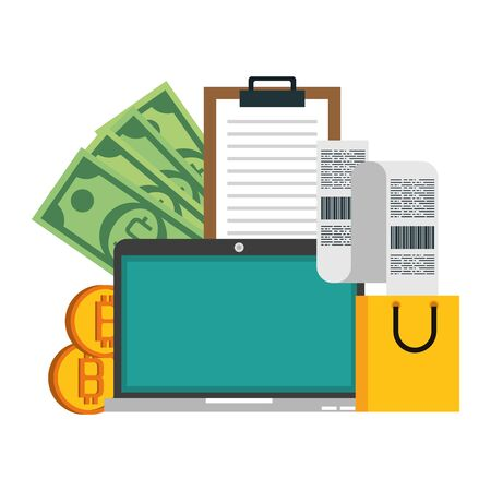 Bitcoin cryptocurrency online payment laptop and cash with clipboard with shopping bag symbols vector illustration graphic design