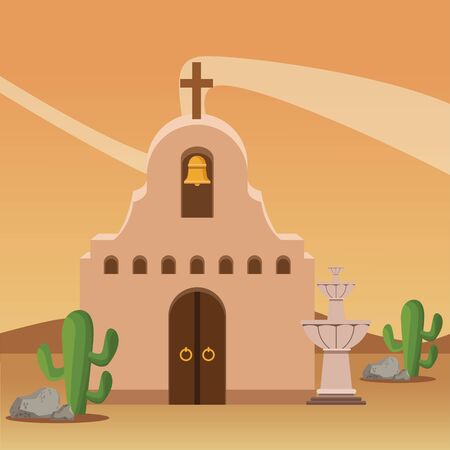 mexican traditional culture traditional mexican church and water fountain icon cartoon in the desert over the sand with cactus vector illustration graphic design